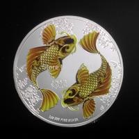 Free shipping 5pcs/lot Jin fish ElizabethII niue two dollar 2012  gold silver clad coin