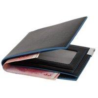 1pc/lot Men Waterproof Foldable Wallet Fashion Vintage Blue Edge Leather Short Bifold Credit Card Holder Purse 641109