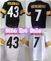 American Football Jerseys Steelers 43 Troy Polamalu Jersey 7 Ben Roethlisberger Men's Elite Authentic Free Shipping
