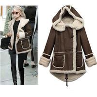 2014 new winter women's wadded jacket outerwear women medium-long plus size olive thickening cotton-padded jacket coat M L XL