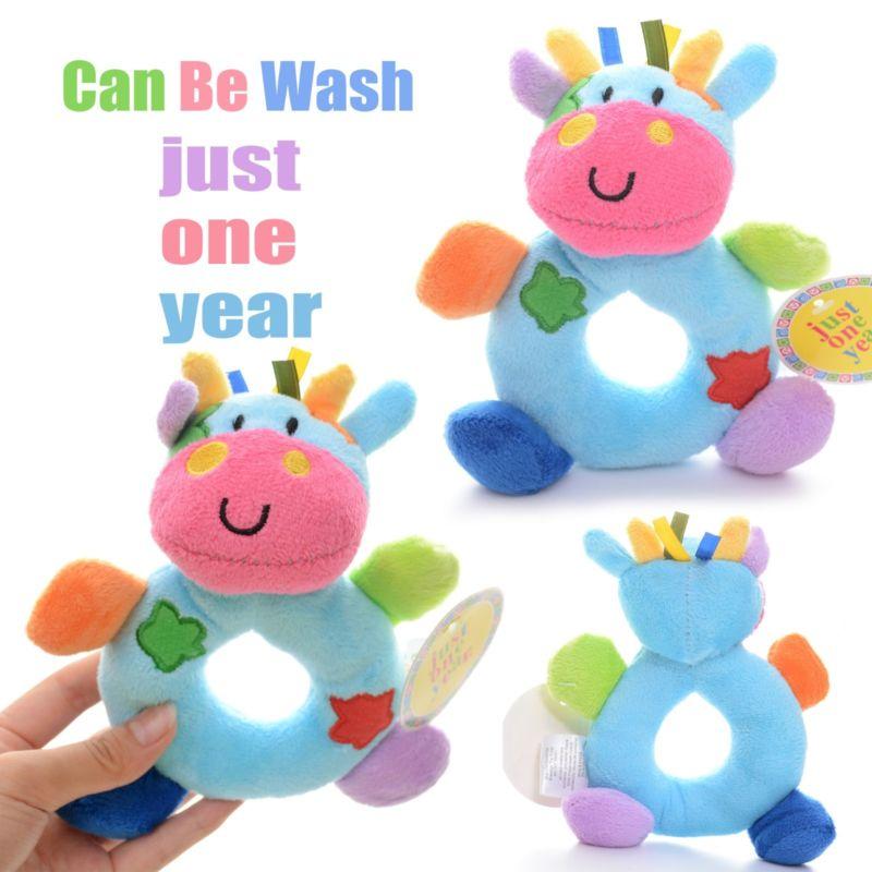 Baby Development Plush Blue Milk Cow Rattles Toy Hand Bell Train Doll 6*4'' New #LN(China (Mainland))