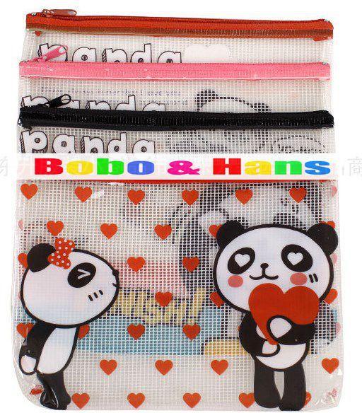 New cute PVC panda life style Pencil bag / A5 grid file bag / pouch / Wholesale(China (Mainland))