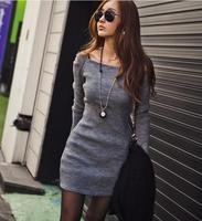 2015 New autumn Women Slim sweater Sexy Full Off the Shoulder Sheath Dresses mini style 347