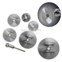 B39 Hot-selling 6PCS HSS Rotary Circular Cutting Discs Mandrel Saw Blades Tool For Dremel Cutoff  free shipping