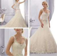 Hot Sell 2015 Sexy A-Line 2688 ELEGANT EMBROIDERED LACE TRIMMED WITH CRYSTAL BEADING ON TULLE WITH WIDE HEMLINE Wedding Dresses