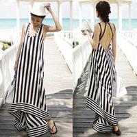 Summer Women Sexy Strap Halter Cross Deep V Neck Stripe ColorBlock Irregular Backless Bohemian Long Beach Party Maxi Dress
