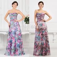 Free Shipping 2015 Grace Karin Pattern Sweetheart Prom Gown Fashion Flower Print Purple Floral Chiffon Formal Evening Dress 7509