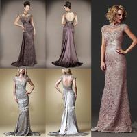 New Arrival Vestidos De Festa 2014 Lace Sexy Backless Elegant Long Evening Dresses Floor Length Formal Evening Gown
