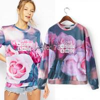 2015 New Arrival Women 3D Digital Letters and Flora Printing Hoodies Ladies Leisure Trend Plus Size Sweatshirt Moleton Feminino