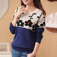 2014 winter new women's Korean sleeve head of printing a plum blossom pattern long sleeved sweater sweater coat