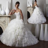 2015 Luxury Ball Gown Tulle Ruffles Vintage Wedding Dress Bridal Gowns Rhinestones Free Shipping W3722