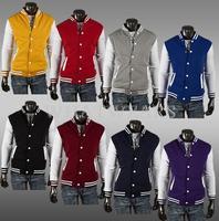 Free Shipping Fashion Classic Unisex Mens Slim Fit College Varsity Baseball Jacket 8 Color 07-2319