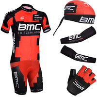 Free shipping 2014 Red BMC Cycling wear with Scarf Arm Warmers and BMC gloves / custom design cycling jersey is ok
