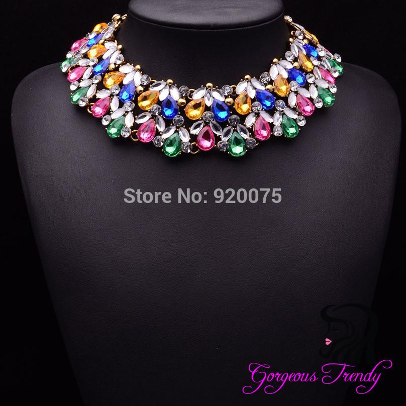 Gorgeous Magazine Modle Elegant ZA Brand Crystal Beads New Statement Necklace Chokers Pendant Fashion Jewelry Women Accessories(China (Mainland))