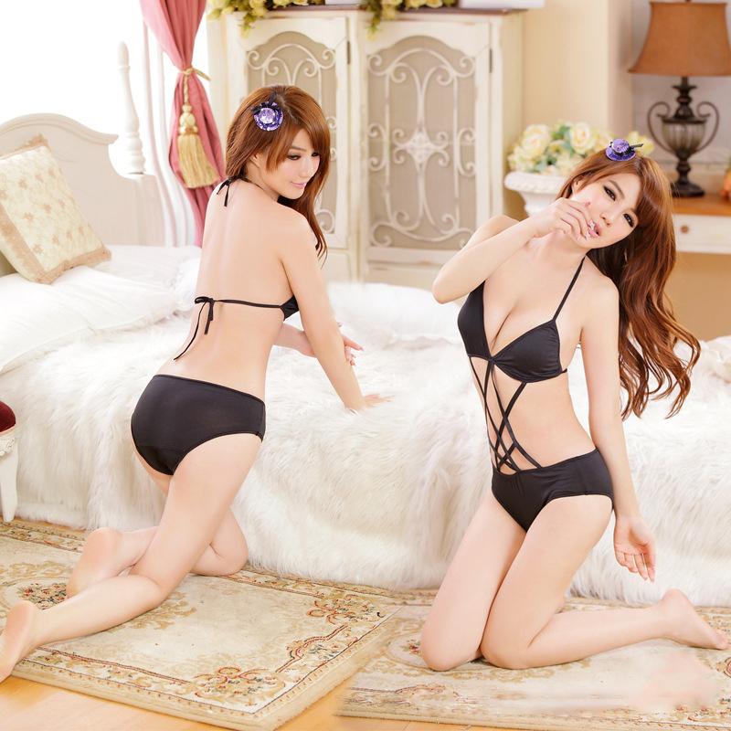 Mulheres Lingerie erótica Lingerie Sexy Bikini macacões oco Out preto barato Sexy fantasias para meninas(China (Mainland))