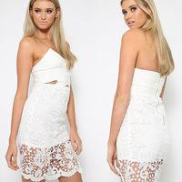 Women White Sexy Lace Crochet Deep V Neck Strapless Wrap Bralette Floral Vestidos Open Back Bodycon Slim Party Cocktail Dress