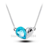 2015 Austria Crystal Rhinestone Platinum Plated Heart Love Necklace Pendants Women Romantic Jewelry Gift