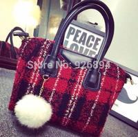 European and American fashion classic plaid wool rabbit fur ball ladies handbag shoulder bag across- body messenger bag 3 colors