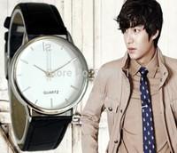 hot sale!! New Men's Casual Watches  Men Leather Strap Black Analog Quartz Sport Wristwatch  free shipping
