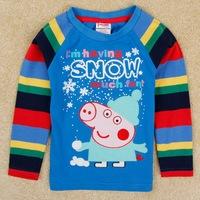One Piece Peppa Pig Casual boys Fashion Clothing Autumn/Spring Cartoon Snow George Tshirt Children Tops