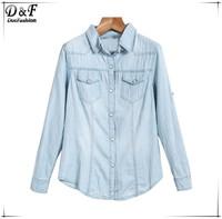 Brand 2015 New Desigual Blusas Feminines Slim Fit Harajuku Style American Apparel Blue Lapel Long Sleeve Classic Denim Blouse