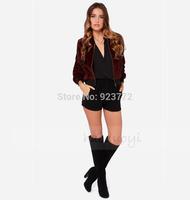 Red Women Outerwear Zipper Short Pactchwork Pockets Women Clothes Mohair Coat 2014 New Brand Fashionable Outerwear Free Shipping
