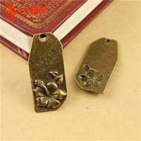 30*14MM Antique Bronze Retro flower charm tag, DIY jewelry wholesale accessories word message charms, charms for jewelry making