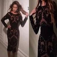 Vintage Sheath Vestido de fiesta Black Prom Dresses With Long Sleeves