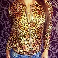FanShou Free Shipping 2014 Women's Coat Spring Autumn Fashion Jackets Women Long Sleeve Outerwear Leopard Printed Blazer Women