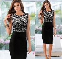 Free Shipping New casual dress 2015 fashion women's dress lace stitching Slim pencil dress plus size women clothing 337