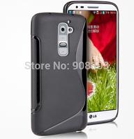 Ultra Thin Matte Elegant S Line Shape TPU Gel Case For LG Optimus G2 D802 Mobile Phone Rubble Skin Black Cover + touch pen