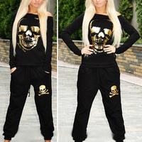 Fashion 2014 Winter Sport Suit Women gold skull print long sleeve hoody 2pcs tracksuit sportwear hip hop sweatshirt For female