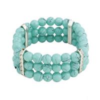 Free shipping  Fashion Elegant Sky Blue Rhinestone Wide Beads Bracelet For Women gifts
