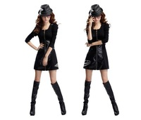 Women's Synthetic leather Long Sleeve zipper One-piece Dress 3 Colors