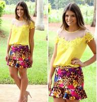blusa renda e tule transparente women fashion blouse CS4546 2014 new blusas shirts free shipping