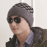 Winter hats for men and women plus velvet warm autumn and winter hedging knit wool cap hat lovers cap male tide