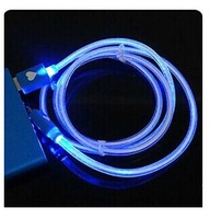Red Blue Orange Visible LED Light Micro USB Data Sync Charger Cable For Samsung Galaxy 4 Color Free shipping