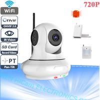 HD 720P Wireless WIFI Pan Tilt Alarm IP Camera Support Door Sensor And PIR Sensor Support 32G SD Card