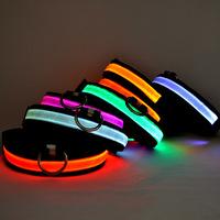 LED Nylon Pet Dog Collar Night Safety LED Light-up Flashing Glow in the Dark free&drop shipping