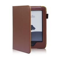 Brand new arrival PU leather Kindle 6 New Kindle case for Amazon kindle, 2014 new version, Brown/Black in stock