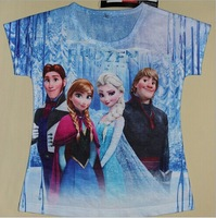 Free 2014 New Baby Girls Frozen Girl T Shirt Kids Short Sleeve T-shirt Children Summer Clothing One Piece Retail f 2-7year old