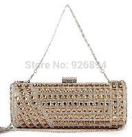 High quality luxury fashion dazzling diamond wedding party ladies handbag purse wallet clutch evening bag chain shoulder bag