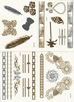 (12pcs/lot) New Design Temporary Tattoo Sticker Bracelets Necklaces Gold  Sex Product Metallic tatoos Anchor(TT03-1)