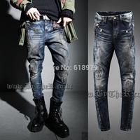 2014 men fashion designer kanye west cool true jeans mens skinny ripped denim biker destroyed pants hip hop swag distressed