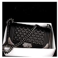 Famous Brand Original 1:1 High Quality Women Genuine Leather Women Shoulder Bags Black Chain Top Designer CC Ladies Hand Bags