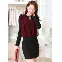 long-sleeve chiffon one-piece dress slim ol elegant bag skirt step