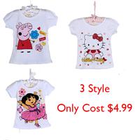 Summer Cartoon Boys Girls T-shirt 3 Style Peppa Pig Cotton Short Sleeve Roupa Infantil Cute Hello Kitty,Dora Kids Clothes bgh010
