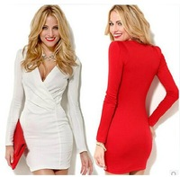 Wholesale Price!European and American Style Sexy Dress For Women Long Sleeve Cross V-neck Tunic Dress White/Red Knitted Dress
