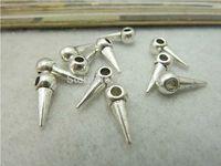 100Pcs Water Drop Charms Pendant Antiuqe Silver Tone DIY Jewelry Making