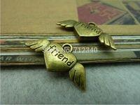 30Pcs Heart Wing Charms Pendant-friend Antiuqe Bronze Tone DIY Jewelry Making